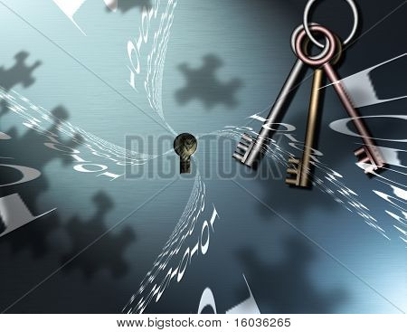 Binary Code, Keys and Puzzle Piece shadows comprise this image
