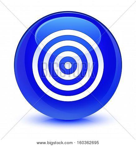 Target Icon Glassy Blue Round Button
