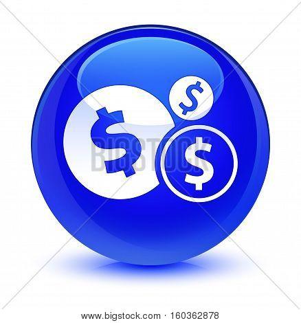Finances (dollar Sign) Icon Glassy Blue Round Button
