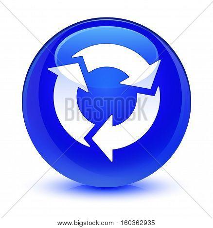 Refresh Icon Glassy Blue Round Button