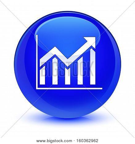 Statistics Icon Glassy Blue Round Button