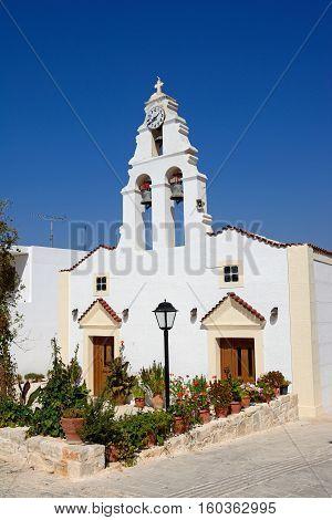View of the village church Margarites Crete Greece Europe.