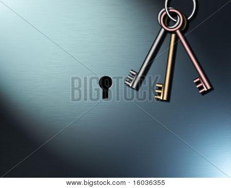 Keys hang near a  keyhole waiting to be used