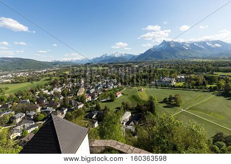 Aerial panoramic view from the top of Hohensalzburg fortress (Castle) on Alps. Salzburg Austria