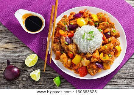 Rice With Fried Pork Chunks With Bell Peppers, Onion, Pineapple