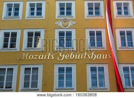 SALZBURG AUSTRIA - APRIL 29 2016: Birthplace of Wolfgang Amadeus Mozart in Salzburg Austria