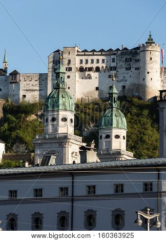 Old town and Fortress Hohensalzburg beautiful medieval castle in Salzburg Austria