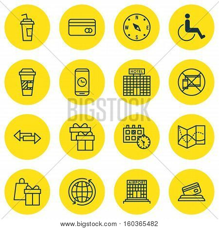 Set Of 16 Traveling Icons. Can Be Used For Web, Mobile, UI And Infographic Design. Includes Elements Such As Paralyzed, Around, No And More.