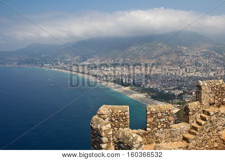 Alanya Castle / Walls fortress of Alanya Kale. Alanya Castle (Alanya Kalesi) is a medieval castle in the southern Turkish city of Alanya.