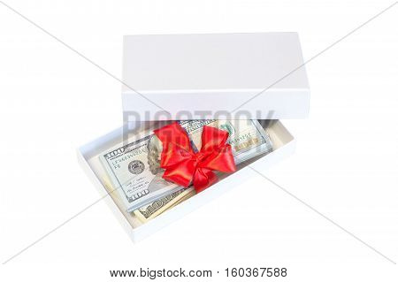 Christmas dollar cash present box with red bow Isolated on white background