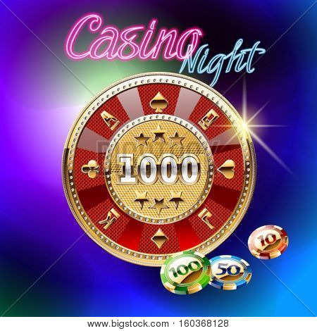 Colorful vector card for casino with roulette wheel and text