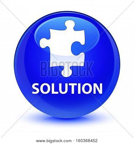 Solution (puzzle Icon) Glassy Blue Round Button