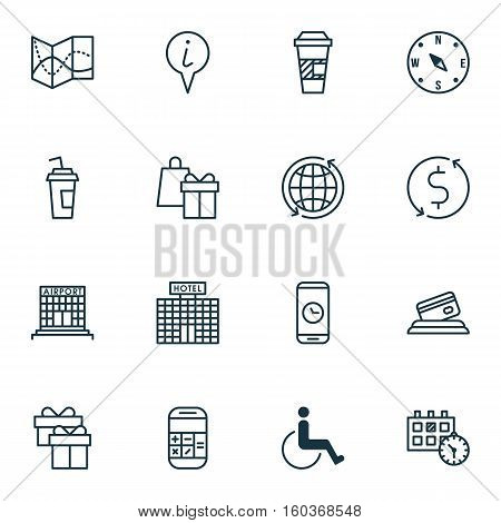Set Of 16 Transportation Icons. Can Be Used For Web, Mobile, UI And Infographic Design. Includes Elements Such As Info, Mobile, Building And More.
