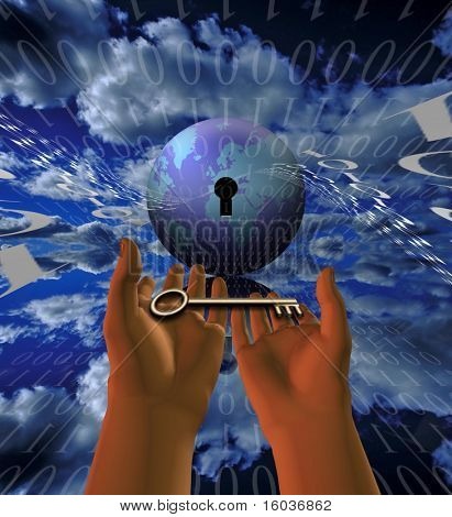 Binary code, the earth and a key in outstretched hands