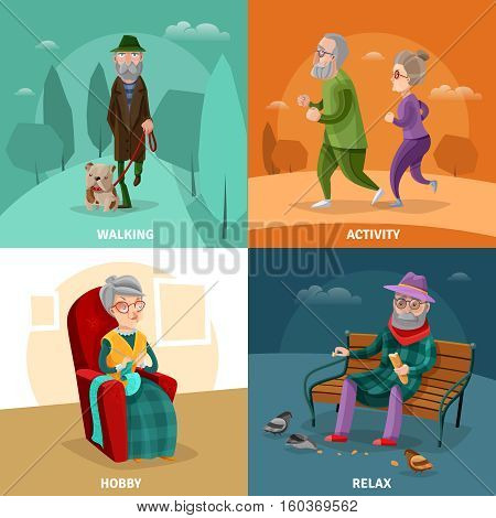 Old people cartoon concept with different activities and recreation at mature age vector illustration