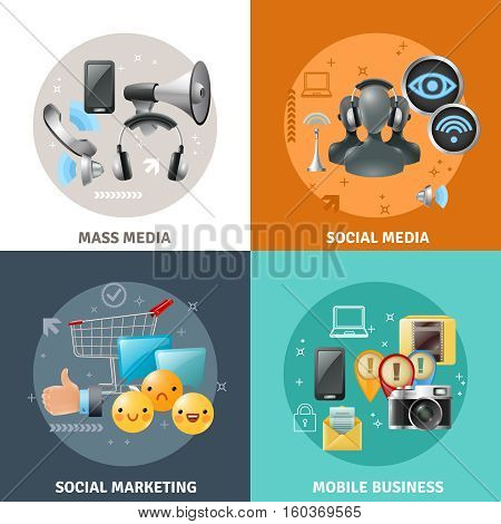 Social media concept with different ways of communication by means of modern technology vector illustration