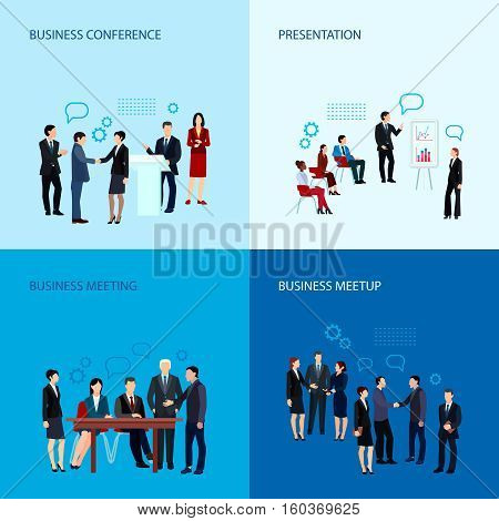 Meeting and conference concept with business people group in flat style vector illustration