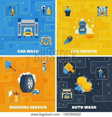 Auto center car wash 4 flat icons square composition with self and full  service isolated vector illustration