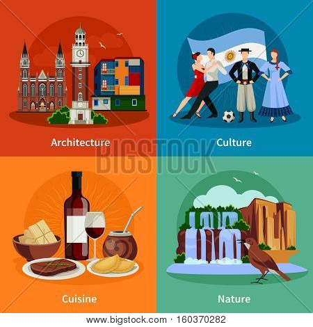 Argentina culture nature architecture and national cuisine dishes 4 flat icons square composition isolated vector illustration