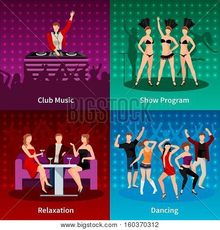 Sexy salsa dancing at night club 4 flat icons square strip show program poster isolated vector illustration