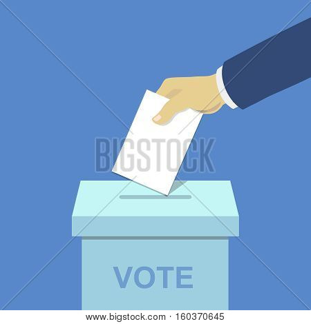 Voting concept, hand putting paper in the ballot box, flat style illustration