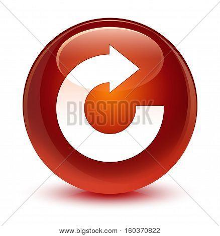 Reply Arrow Icon Glassy Brown Round Button
