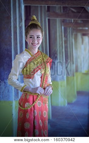Laos woman with traditional dress,beautiful Laos woman.