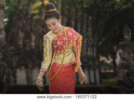 Laos woman with traditional dress ,beautiful Laos girl.