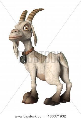 3D Rendering Goat On White