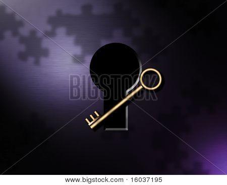 Key, puzzle pieces, keyhole