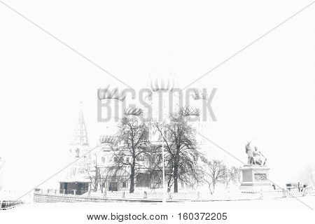 Overexposed Saint Basil's Cathedral bokeh background hd
