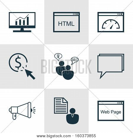 Set Of 9 Marketing Icons. Can Be Used For Web, Mobile, UI And Infographic Design. Includes Elements Such As Marketing, Per, Web And More.