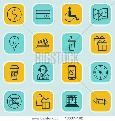 Set Of 16 Transportation Icons. Can Be Used For Web, Mobile, UI And Infographic Design. Includes Elements Such As Compass, Paralyzed, Drink And More.
