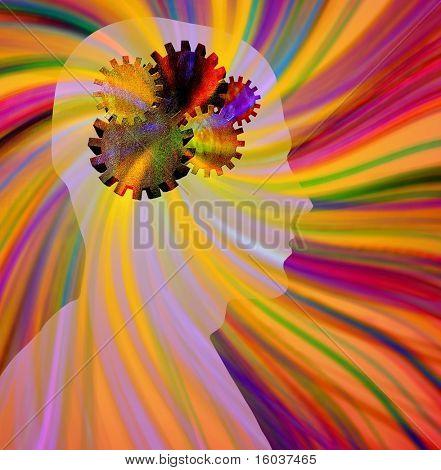 Thinking: Head, gears, rays