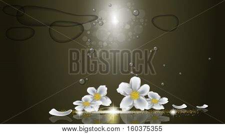 Digital vector abstract empty dark green background with sparkle, stars, water bubbles and jasmin flowers. Ready for product placement and infographic, ads, print or magazine poster