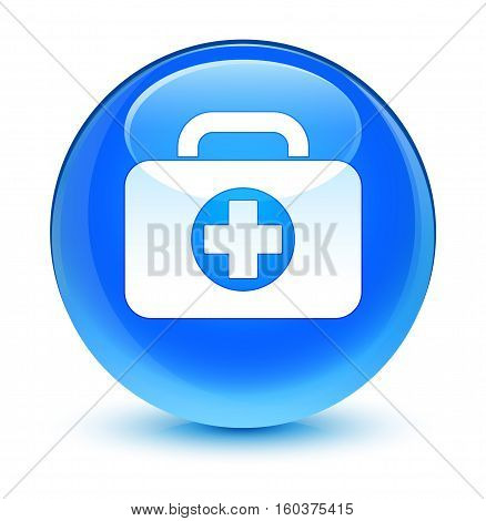 First Aid Kit Bag Icon Glassy Cyan Blue Round Button