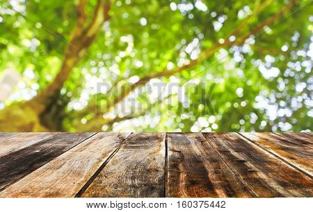 Empty table on nature blur for background.