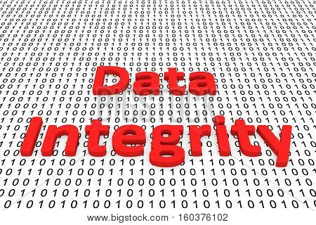 Data integrity in the form of binary code, 3D illustration