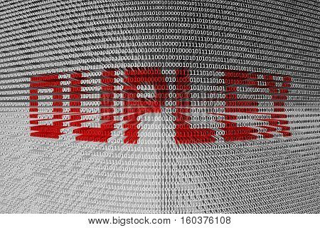 DUPLEX in the form of binary code, 3D illustration poster