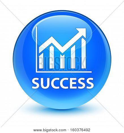 Success (statistics Icon) Glassy Cyan Blue Round Button