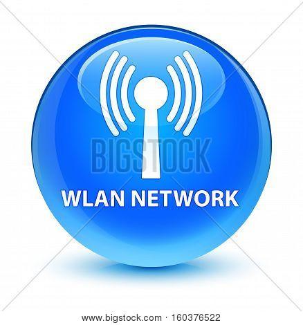 Wlan Network Glassy Cyan Blue Round Button