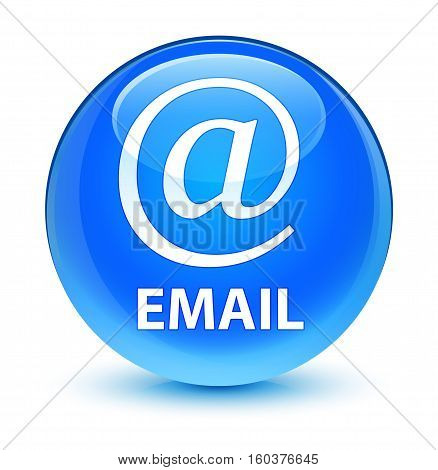Email (address Icon) Glassy Cyan Blue Round Button