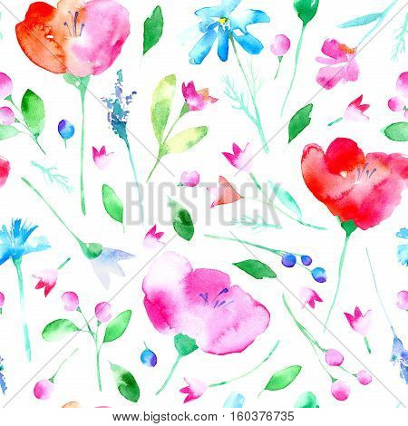 Floral seamless pattern with poppy flowers, bluebell, lavender, cornflower, chamomile and daisy. Watercolor hand drawn illustration.White background.