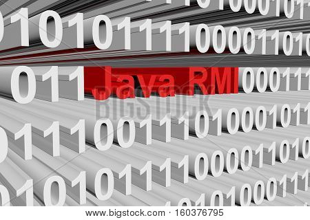 Java RMI in the form of binary code, 3D illustration