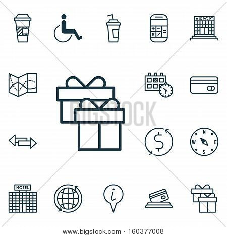 Set Of 16 Transportation Icons. Can Be Used For Web, Mobile, UI And Infographic Design. Includes Elements Such As Debit, Paralyzed, Payment And More.
