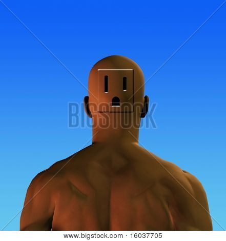 Electrical outlet in mans head