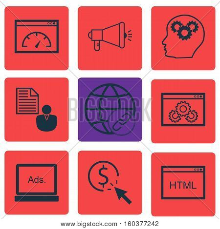 Set Of 9 Advertising Icons. Can Be Used For Web, Mobile, UI And Infographic Design. Includes Elements Such As HTML, Code, Matching And More.
