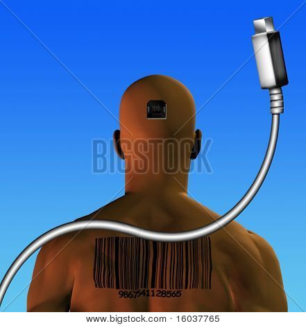 Human with barcode to plug directly into computer, internet