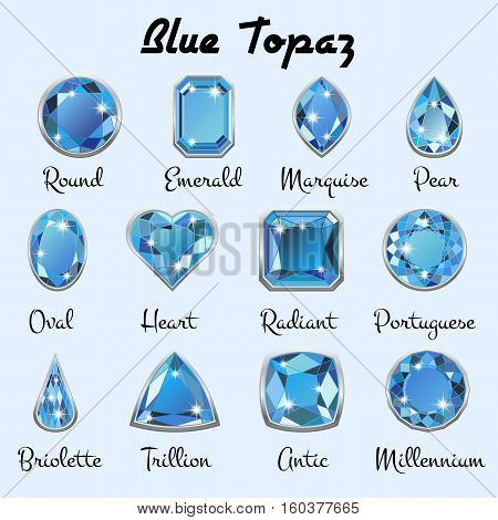 Set of different types of cuts of precious stone Topaz in realistic shapes in light blue color with silver edging. Vector illustration poster