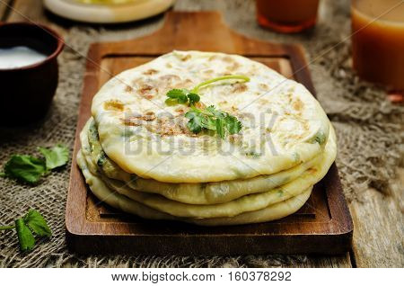 Healthy Indian Potato stuffed Flatbread. Aloo Paratha.